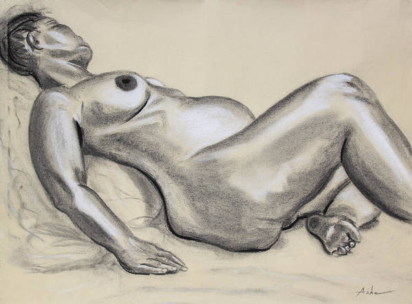 Nude Drawing Print featuring the painting Woman With Child Dreaming by Asha Carolyn Young