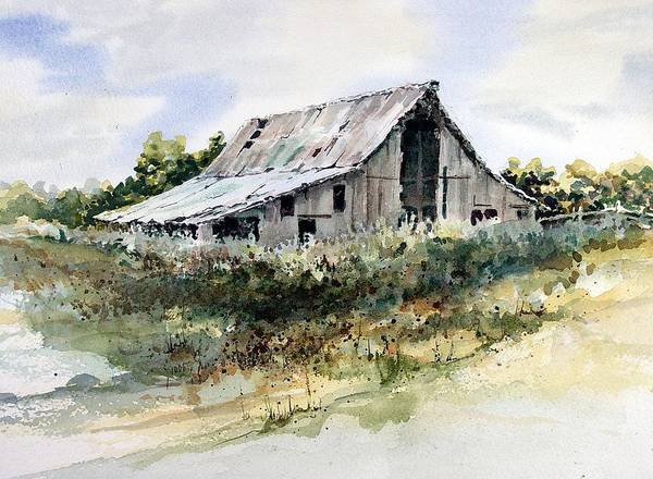 Shed Print featuring the painting Barn by Sam Sidders