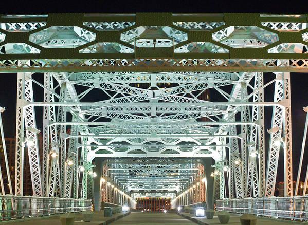 Nashville Print featuring the photograph Nashville By Night Bridge 2 by Douglas Barnett