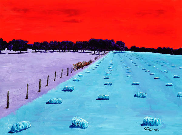 Landscape Print featuring the painting Baled Hay by Randall Weidner