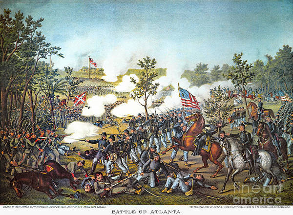 1864 Print featuring the photograph Battle Of Atlanta, 1864 by Granger