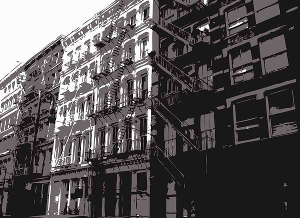 New York City Fire Escapes Print featuring the photograph Fire Escapes Bw3 by Scott Kelley