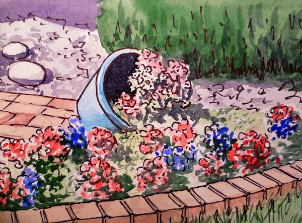 Flower Pot Print featuring the painting Flower Bed Sketchbook Project Down My Street by Irina Sztukowski