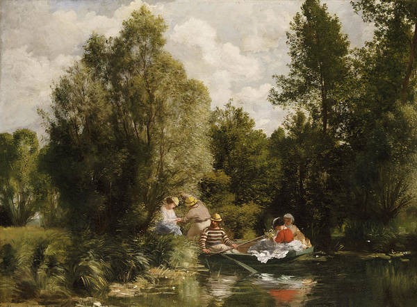 Impressionist; Impressionism; Boat; Boating; Male; Female; Tree; River; Grass Print featuring the painting La Mare Aux Fees by Pierre Auguste Renoir