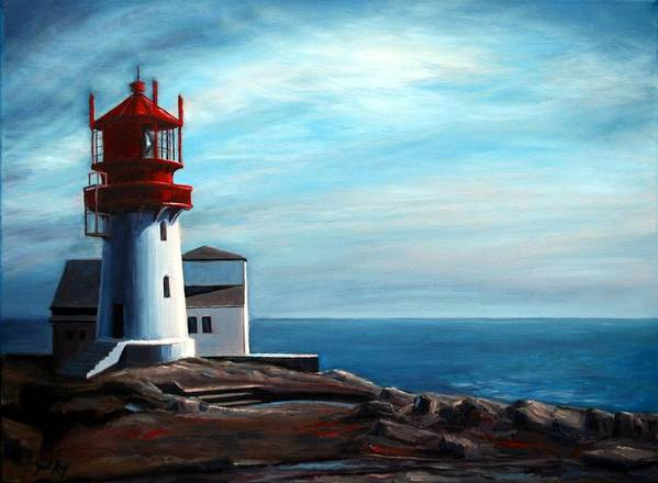 Lighthouse Print featuring the painting Lindesnes Lighthouse by Janet King