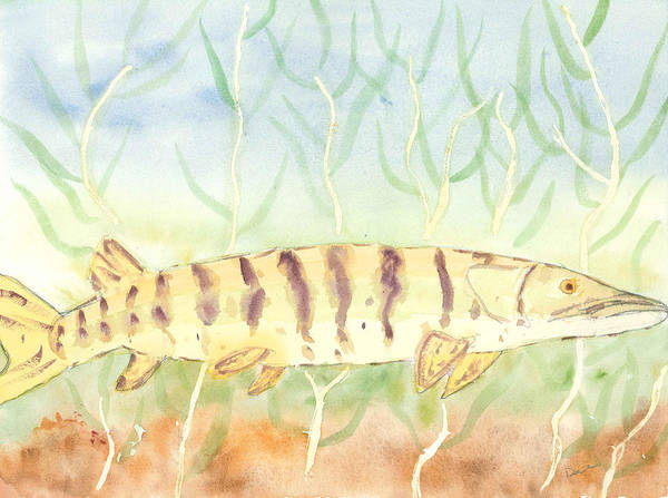 Fish Print featuring the painting Lurking Tiger by David Crowell