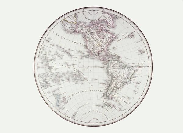 Horizontal Print featuring the digital art Planispheric Map Of The Western Hemisphere by Fototeca Storica Nazionale