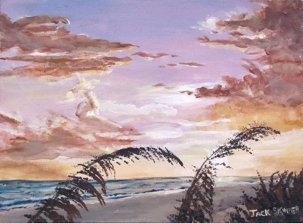 Sunset Print featuring the painting Sanibel Island Sunset by Jack Skinner