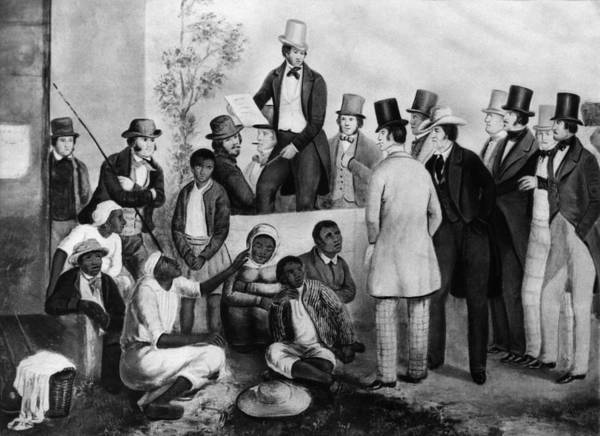 1850s Print featuring the photograph Slavery Auction, In The United States by Everett