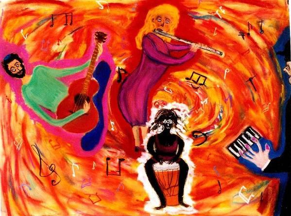 Guitar Print featuring the pastel Wild Music by Eliezer Sobel