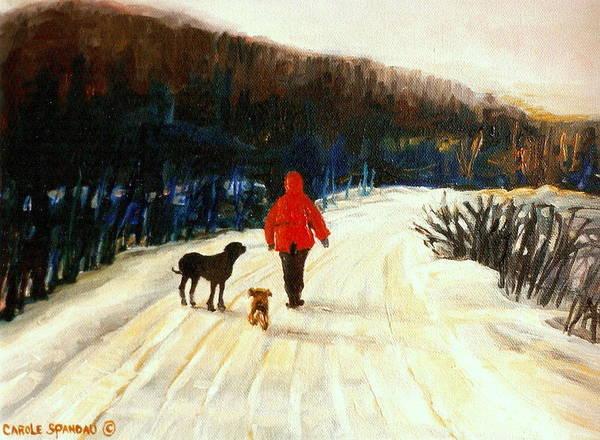 Quebec Artist Print featuring the painting Winter Road Quebec Laurentian Landscape by Carole Spandau