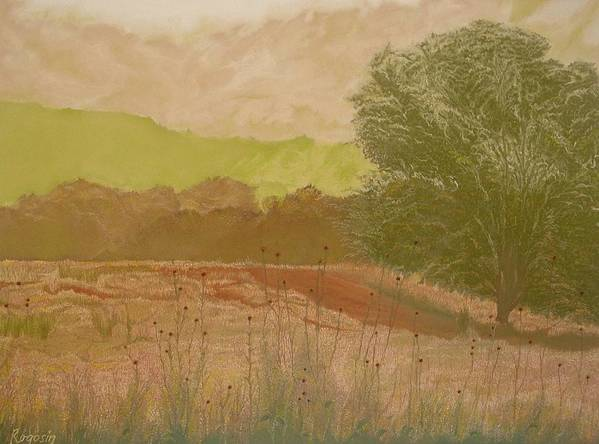 Landscape Print featuring the pastel The Fog Bank by Harvey Rogosin