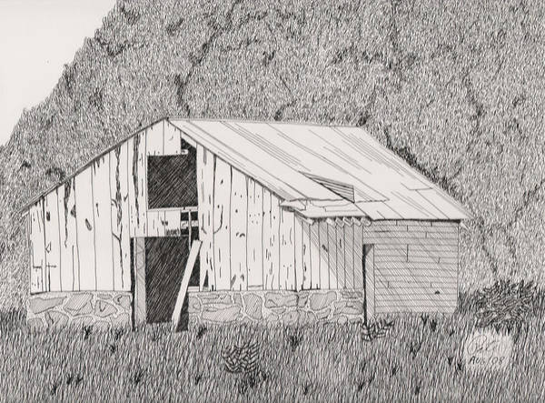 Pen And Ink Print featuring the drawing Abandoned Dairy-oklahoma by Pat Price