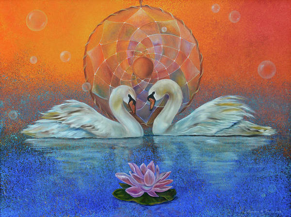 Swans Print featuring the painting Awakening To The Beauty Within by Sundara Fawn