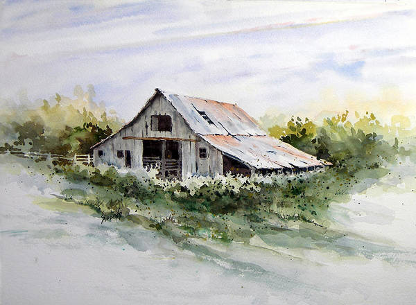 Farm Print featuring the painting Barn by Sam Sidders