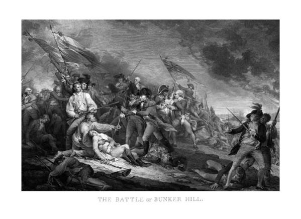 Revolutionary War Print featuring the drawing Battle Of Bunker Hill by War Is Hell Store