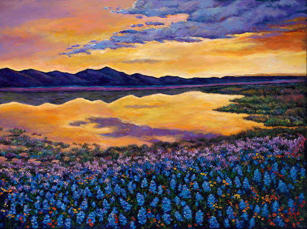 Southwestern Landscape Print featuring the painting Bluebonnet Rhapsody by Johnathan Harris