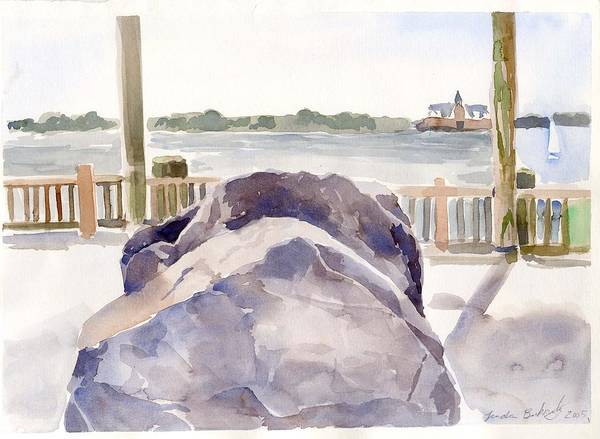 Paintings Print featuring the painting Boulder by Linda Berkowitz