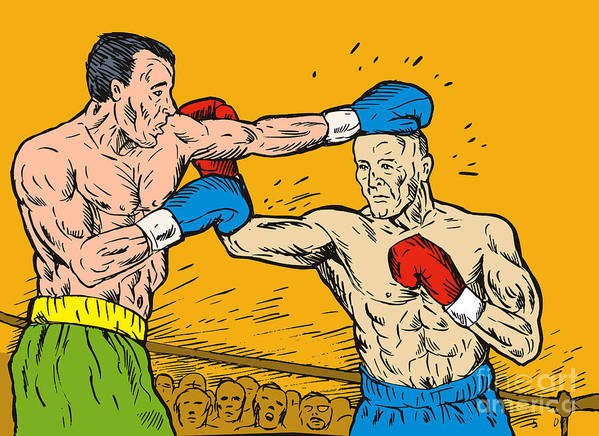 Boxing Print featuring the digital art Boxer Punching by Aloysius Patrimonio