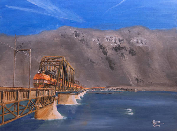 Train Print featuring the painting Columbia Crossing by Christopher Jenkins