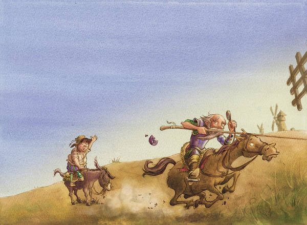 Don Quixote Print featuring the painting Don Quixote by Andy Catling