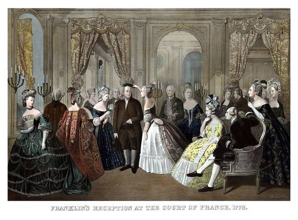 Benjamin Franklin Print featuring the painting Franklin's Reception At The Court Of France by War Is Hell Store
