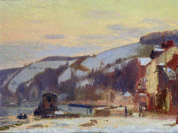 Hillside Print featuring the painting Hillside At Croisset Under Snow by Joseph Delattre
