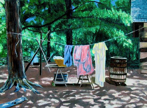 Original Oil On Canvas Print featuring the painting Laundry Day 1800 by Stan Hamilton