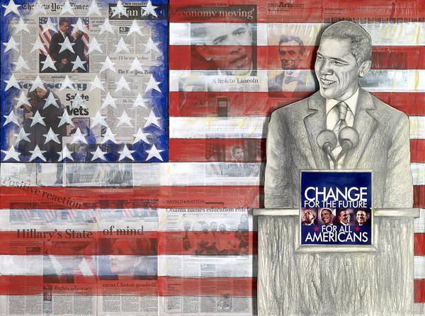 Barack Obama Print featuring the mixed media Lincoln by Yvonne Dagger