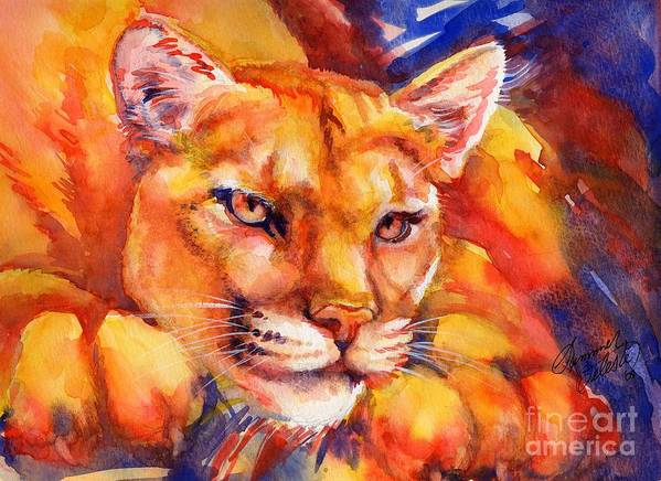 Mountain Lion Print featuring the painting Mountain Lion Red-yellow-blue by Summer Celeste