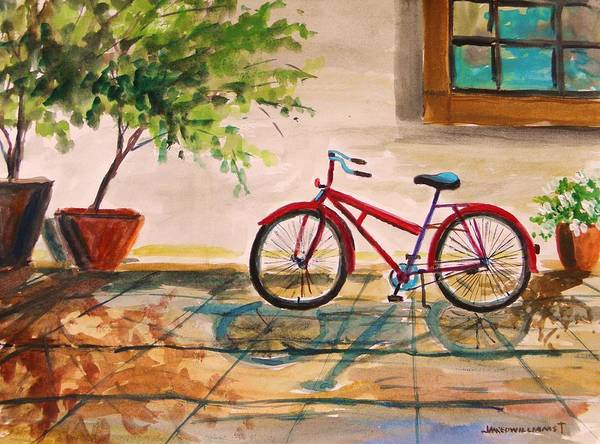 Bike Print featuring the painting Parked In The Courtyard by John Williams