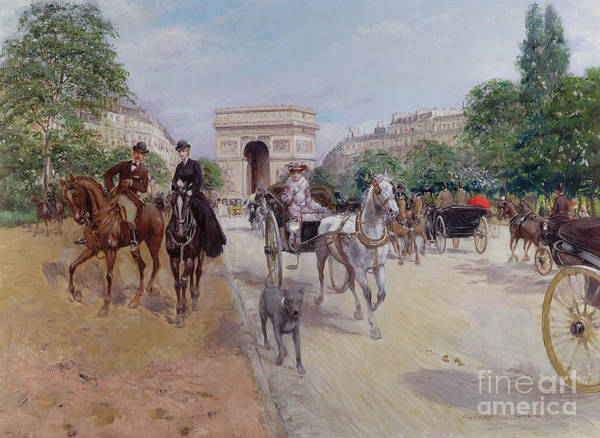 Riders Print featuring the painting Riders And Carriages On The Avenue Du Bois by Georges Stein