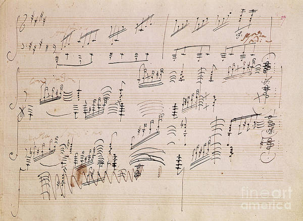 Score Print featuring the painting Score Sheet Of Moonlight Sonata by Ludwig van Beethoven
