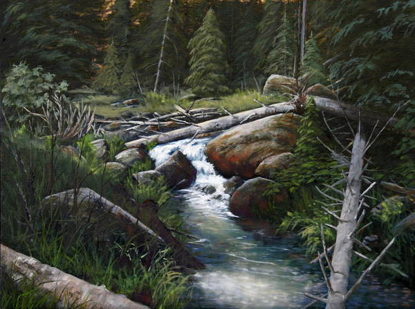 Landscape Print featuring the painting Small Stream In The Lost Wilderness 070810-1612 by Kenneth Shanika
