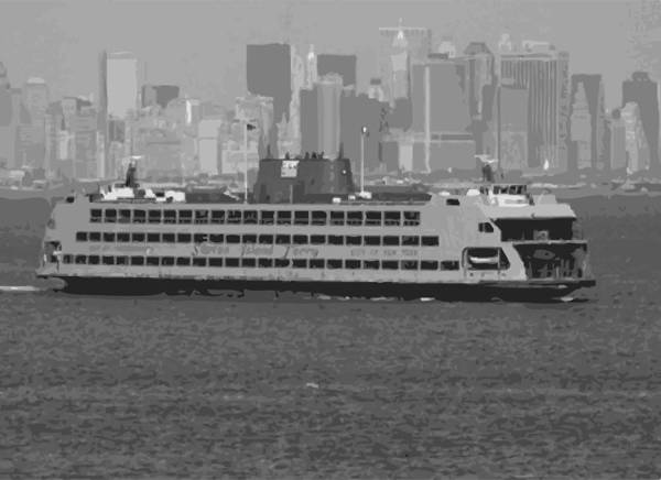 Staten Island Ferry Print featuring the photograph Staten Island Ferry Bw16 by Scott Kelley