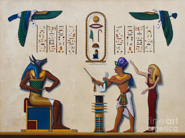 Egypt Print featuring the painting Teaching An Old God New Tricks by Richard Deurer