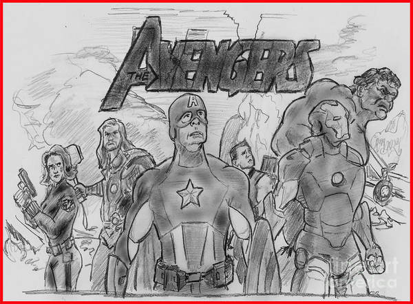 Avengers Print featuring the drawing The Avengers by Chris DelVecchio
