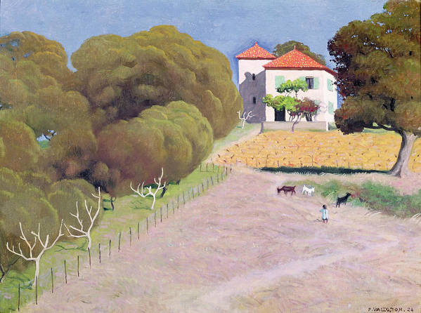 Landscape Print featuring the painting The House With The Red Roof by Felix Edouard Vallotton