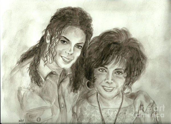 Michael Jackson Print featuring the painting The King Of Pop And Elizabeth Taylor by Nicole Wang