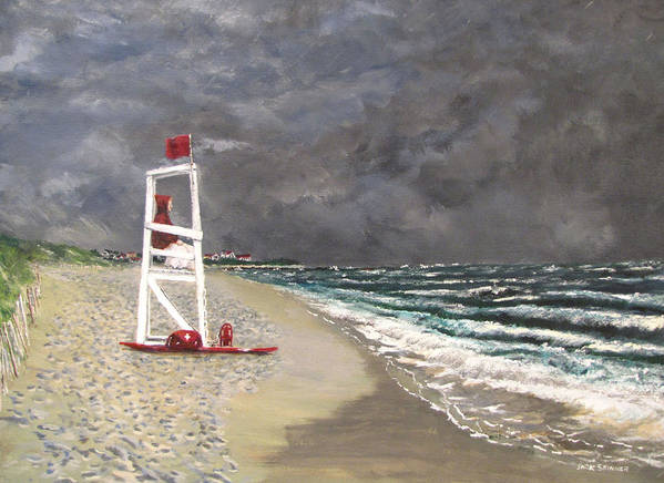 Seascape Print featuring the painting The Last Lifeguard by Jack Skinner