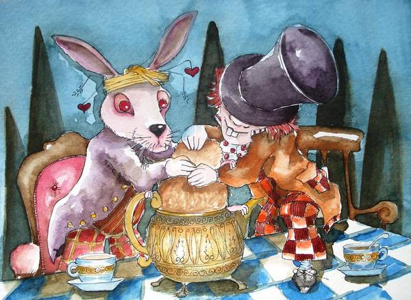 Alice In Wonderland Print featuring the painting The Tea Party by Lucia Stewart