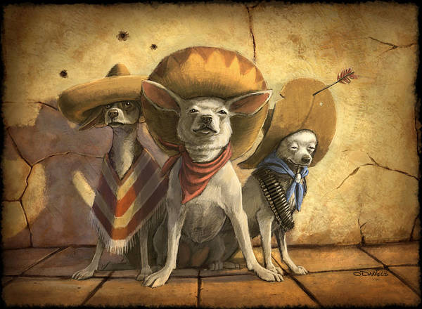 Dogs Print featuring the painting The Three Banditos by Sean ODaniels