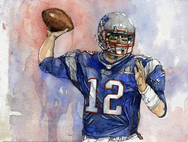 Patriots Print featuring the painting Tom Brady by Michael Pattison