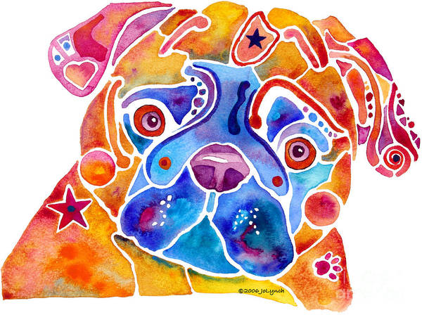 Pug Print featuring the painting Whimsical Pug Dog by Jo Lynch