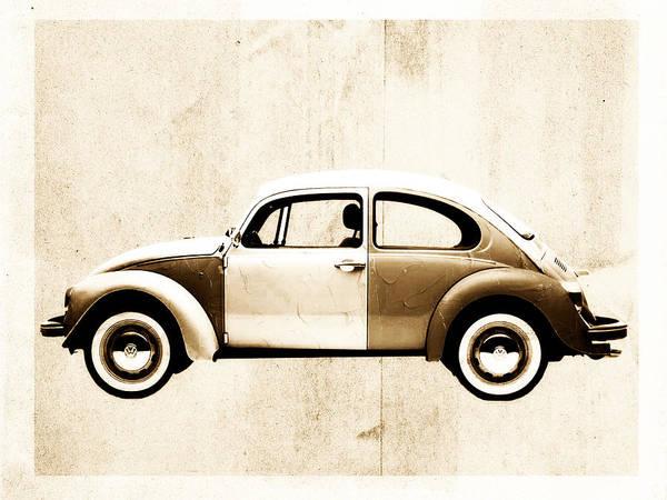 Beetle Print featuring the digital art Beetle Car by David Ridley
