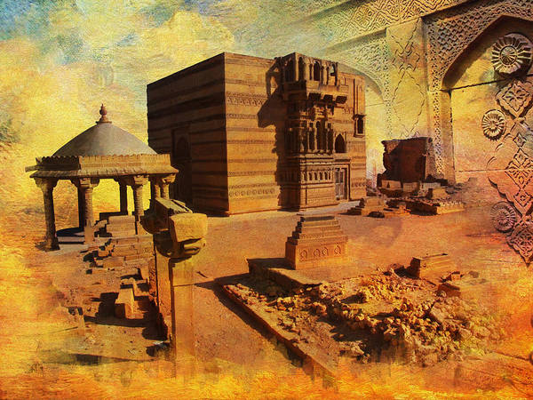Pakistan Print featuring the painting Makli Hill by Catf