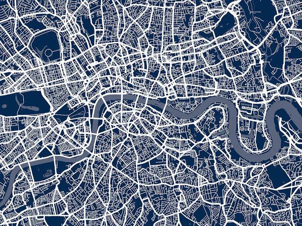 Central London Print featuring the digital art London England Street Map by Michael Tompsett