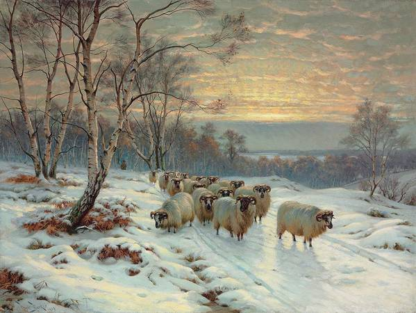 Shepherd Print featuring the painting A Shepherd With His Flock In A Winter Landscape by Wright Baker