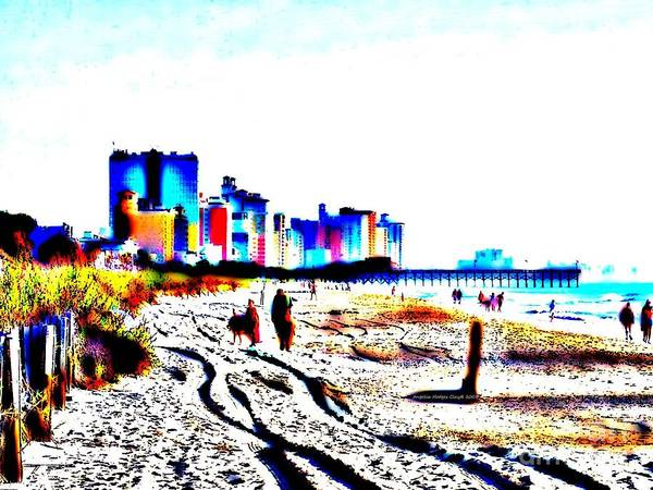 Landscape Print featuring the digital art Afternoon At The Beach by Angelia Hodges Clay