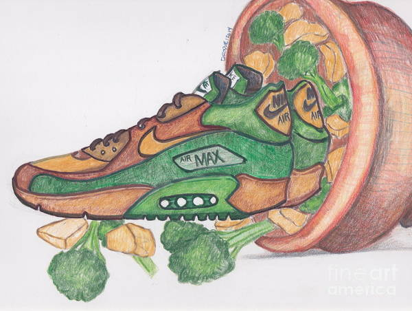 Nike Print featuring the drawing Air Max 90 Cnb by Dallas Roquemore